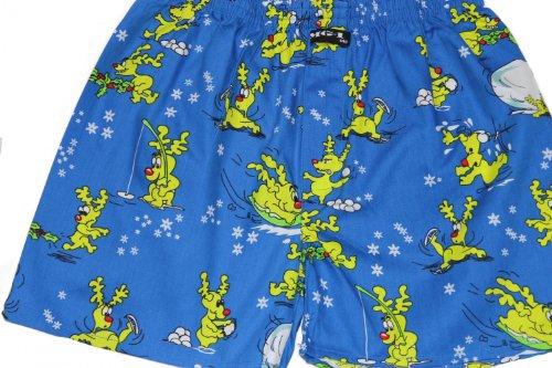 MG-1 Webboxer Jungen Weihnachten Rentier Motiv Boxershorts 128 140 152 164 176 Geschenk, Grösse:128/134;Farbe:Mehrfarbig