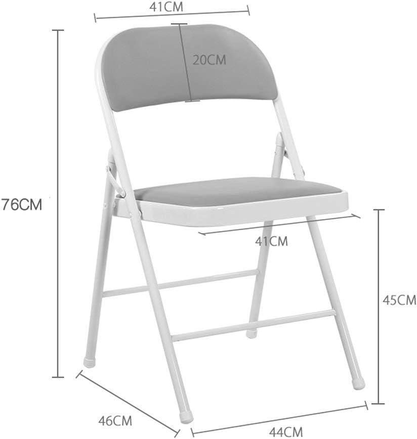 Chaise pliante portative en métal de ménage, chaise d'ordinateur de bureau de dortoir simple chaise pliante de dossier de chambre à coucher de chaise ++ (Couleur : Black) Black