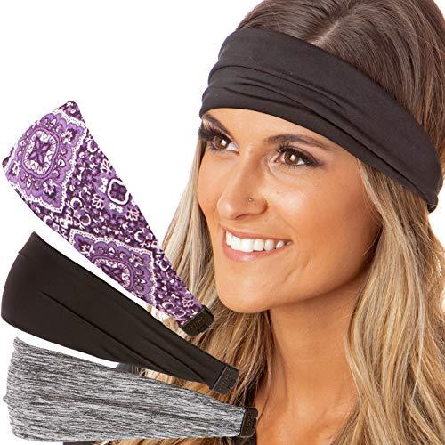 Hipsy Adjustable & Stretchy Printed Xflex Wide Headbands for Women Girls & Teens (3pk Grey/Black/Purple Bandana Xflex)