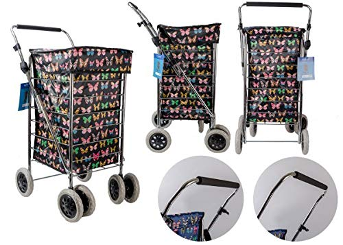 Carro de la compra de seis ruedas con mango ajustable bolsa de 6 ruedas
