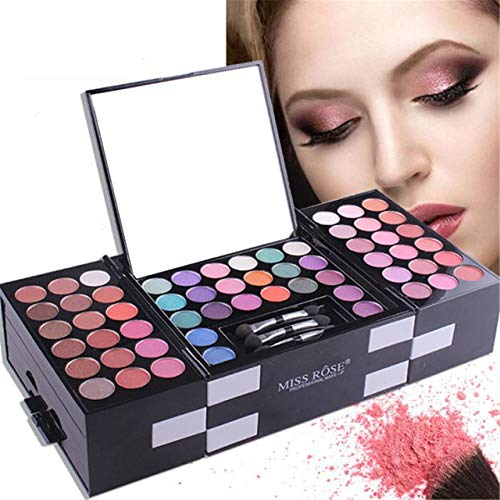 FantasyDay® Profi Lidschatten Palette Make Up Kosmetik Makeup Kit - 142 Farben Hochpigmentierte Warme Matt Natürliche Schminke Augenschatten Eyeshadow, 3 Augenbraue, 3 Rouge