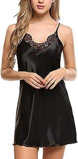 Pijama de algodón sin Mangas para Mujer Vestido y Rodilla Sueltos de Moda Mujer Elegante Simple Transpirable 3 Colores