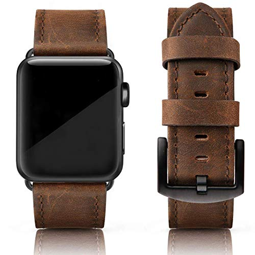 SWEES Leather Bands Compatible with iWatch 42mm 44mm Women Men, Genuine Leather Vintage Strap Silver Buckle Compatible iWatch Series 5 Series 4 Series 3 Series 2 Series 1, Retro Brown