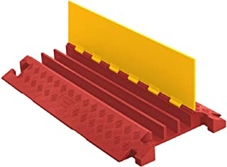 Linebacker CP3X225-Y/O Polyurethane Extra Heavy Duty 3 Channel Cable Protector with T-Shaped Connectors, Yellow Lid with Orange Ramp, 36