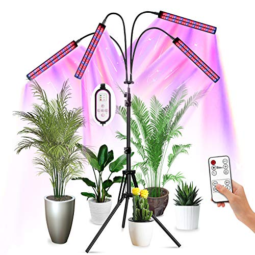 Grow Lights for Indoor Plants, Plant Light, Newest 192 LED Four-Head Double-Row 100W Plant Grow Lights Indoor with Stand, R&B&IR&UV Spectrum, Flexible Gooseneck, Dimmable 3 Modes, AutoOn/Off Timer