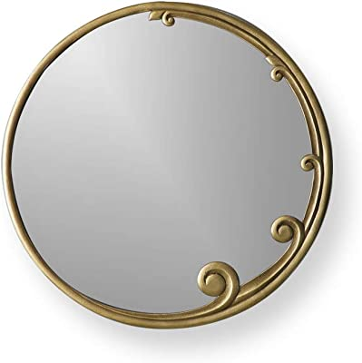Artisticks Wood Antique Round Decorative Mirror for Living Room, Home Decor, Bathroom (Dark Gold)