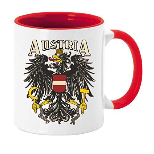 Tasse Kaffeebecher mit Motiv/Spruch Austria Design Höhe: ca. 9,7 cm, Ø ca. 8,2 cm Material: Keramik Füllmenge: 300 ml Tasse im Geschenkkarton (Rot, Staatsadler)