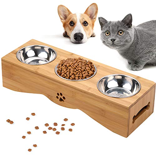 Cat Bowls, Pet Bowl Small Dog and Cat Bowls Stainless Steel Three Bowls Pet Feeder Pet Food Bowl for Cats (M-Single Bowl Size:11cm/4.33in)