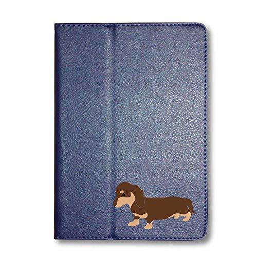 ダックスフンド チョコ&タン タブレットケース iPad 手帳型 iPad 2019(10.2) ネイビー 犬 柴犬 黒柴 日本犬 ペット 動物 アニマル タブレットカバー タブレット ブック型 iPad7 アイパッド 紺 Fave フェイブ f02014