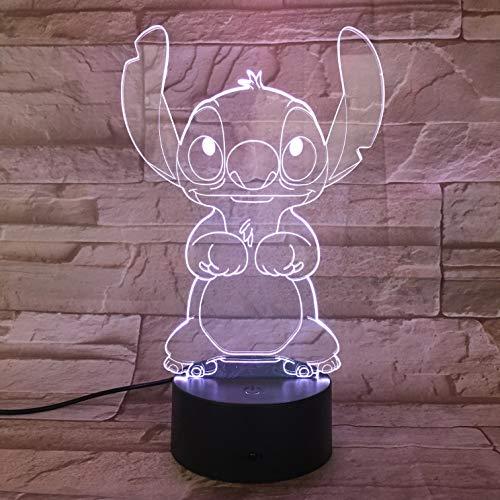 Lampara LED Infantil Stitch Cambia Color USB Luz Nocturna