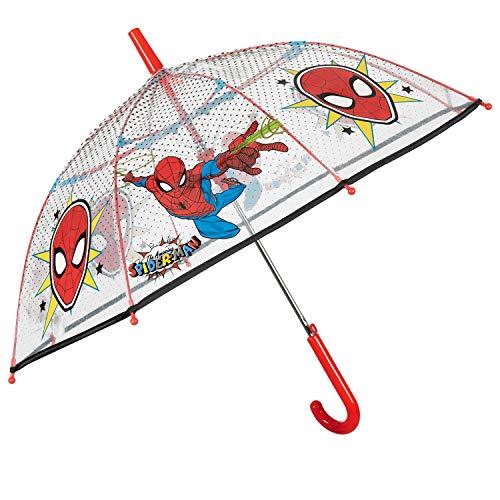 Ombrello Trasparente Spiderman Bambino - Ombrello a Cupola Marvel Spider Man - Uomo Ragno - Apertura di Sicurezza Automatica e Resistente in Fibra di Vetro - 4/6 Anni - Diametro 74 cm - Perletti Kids