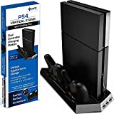 Ortz PS4 Vertical Stand with Cooling Fan [Keeps System Cool] Playstation Controller Charging Station with Dual Charger [NOT for PRO or Slim]