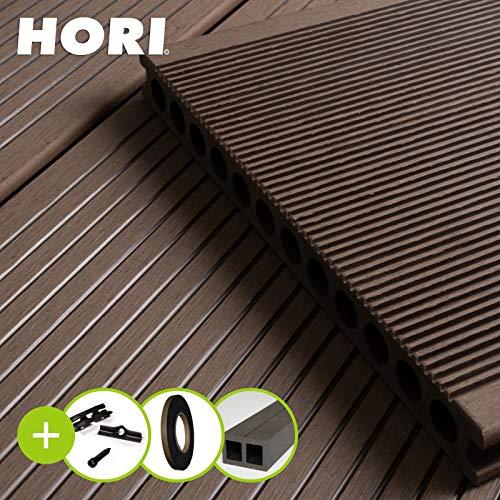 HORI® WPC-Terrassendiele Braun XXL Hohlkammer Diele I Komplettset inkl. 40x60 mm Unterkonstruktion & Clips I Fläche: 5 m² I 2,90 m Dielenlänge