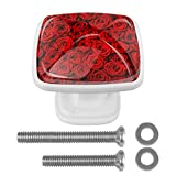 Juego de 4 pomos redondos de cristal con tornillos para cocina, aparador, armario, cuarto de baño, armario, ropero romántico, diseño de rosas rojas