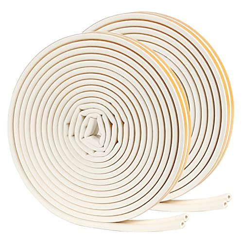 Draught Excluder, 4 Seals Total 20M Weather Stripping Tape for Air Conditioner Door Window Gap Seal Insulation Leakproof Soundproof Strip(D Type, White)