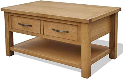 vidaXL Solid Oak Wood Coffee Table with Drawer Living Room Furniture Stand