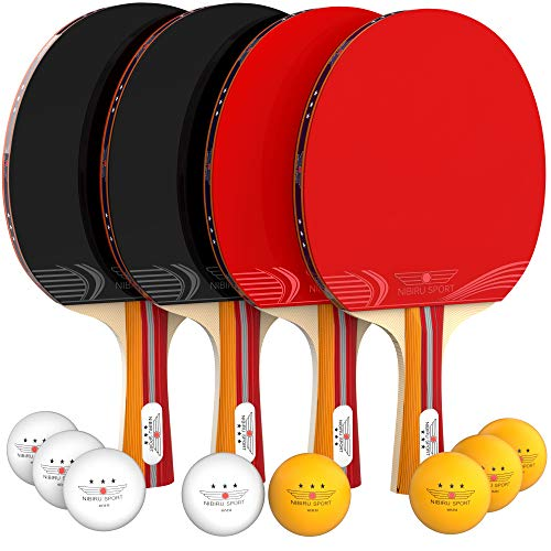 NIBIRU SPORT Ping Pong Paddle Set 4Player Bundle Pro Premium Rackets 3 Star Balls Portable Storage Case Complete Table Tennis Set with Advanced Speed Control and Spin Indoor or Outdoor Play