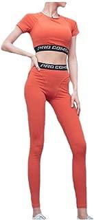 RkYAO Women Short-Sleeve Slim Quick Dry Sports Bra Leggings 2 Pieces Set