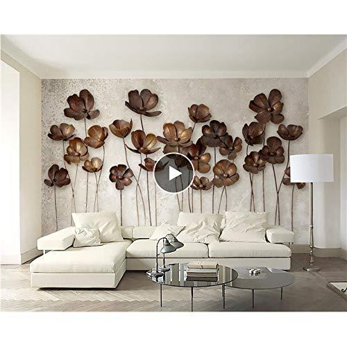 Shuangklei 3D IJzeren kunst smeedijzeren bloemige vintage moderne minimalistische tv muur achtergrond behang 3D foto behang muurschildering 200x140cm