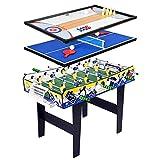 FSJD Mesa de Juegos múltiples 4 en 1, Que Incluye Hockey, futbolín/futbolín, Mesa de Billar, Mesa de Tenis de Mesa, Hockey de Aire, Sala de Juegos para niños Adultos, Juegos Deportivos Familiares