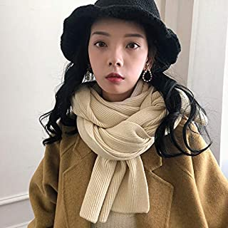 Winter Long Scarf Scarf Women's Autumn and Winter Wild Knit Solid Color Shawl Warm Couple Wool Yarn Collar Girl Collar (Color : Burgundy) Winter Soft Scarf (Color : Beige)