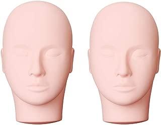 Yephets Pro Training Mannequin Flat Head Practice Make Up Eye Lashes Eyelash Extensions,Practice Training Head Manikin Cosmetology Mannequin Doll Face Head-2 Pack