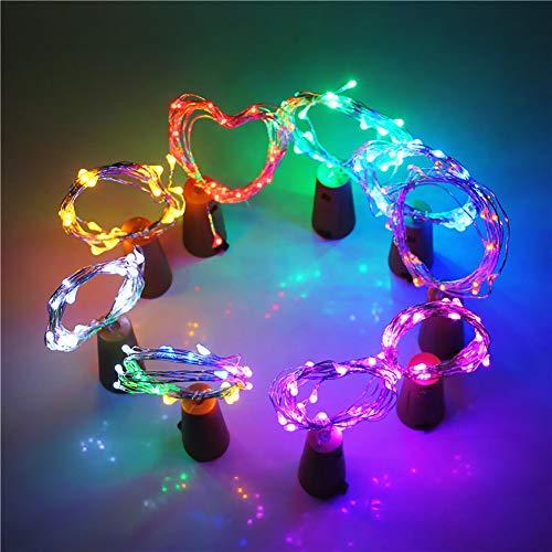 Tixiyu Luces de botella, 2 m, 20 luces LED de corcho para botellas de vino, luces de hadas para fiestas, cumpleaños, boda, Navidad, centros de mesa de bricolaje, decoración (multicolor)