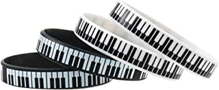 STOBOK 4pcs Music Lover Wristband Piano Keys Printed Rubber