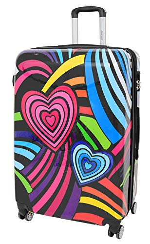 Suitcase Travel Bags Expandable Hard Shell Multicolour Hearts 4 Wheel Luggage (Large 75x48x30cm, 4.4kg)