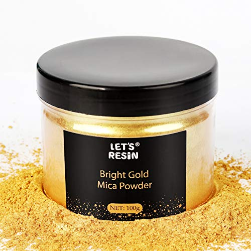 LET'S RESIN Gold Mica Pigment Powder, 3.5 Ounces/ 100 Grams Gold Mica Powder for Soap Making,Shimmer Resin Pigment Powder for Epoxy, Slime, Bath Bomb,DIY Crafting Projects