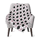 Olverz Manta de felpa gruesa con patrones de rombos para bebé, cómoda manta de...