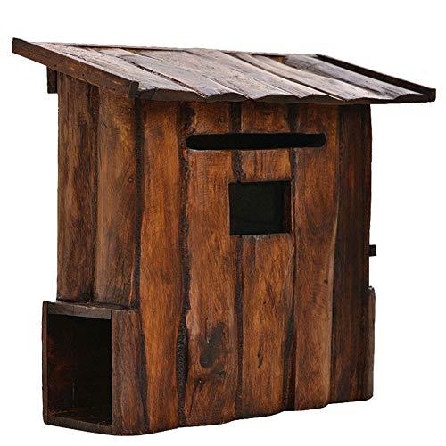 Briefkasten Wandbriefkästen Draussen An der Wand Montiert Briefkasten Letterbox Holz - Wetterfest Post Box, Rustikal Hölzern Briefkasten mit Zeitungshalter, Vintage Haus Design