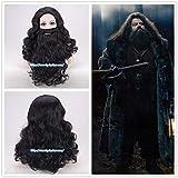 Parrucca ondulata lunga nera da uomo Rubeus Hagrid con barba Costume da gioco di ruolo Rubeus Hagrid One Size nero