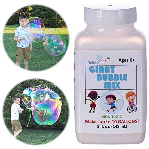 Bubbleventi Giant Bubble Mix   Made in USA  100% Vegan Non-Toxic Powder Makes 10 Gallons of Premium, Big Bubble Solution for kids