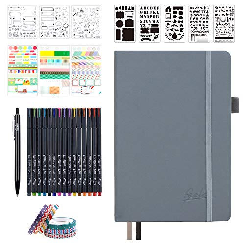 Dotted Journal Set, 224 Numbered Pages Faux Leather A5 Grid Hard Cover Gray Notebook Planner with Index Inner Pocket, Abundant Accessories for Beginners Planner Schedule by Feela