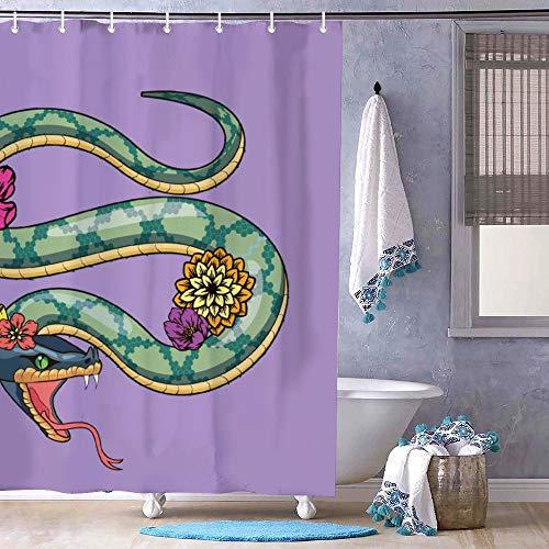 Dom576son Duschvorhang, 182,9 x 182,9 cm, Schlangenkunst-Schlangen-Design, Badezimmerdekoration
