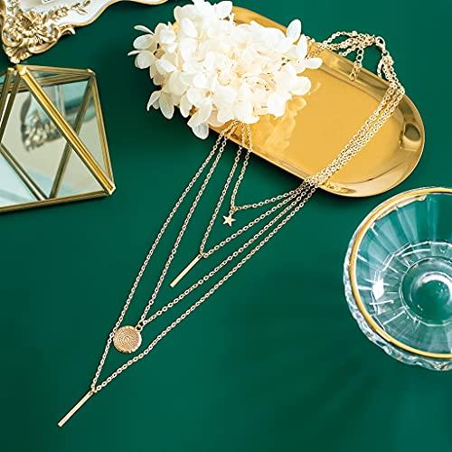 KONZFP Collar Collares de Cristal para Mujer, Collar de Oro a la Moda, Collar con Colgante de múltiples Capas Vintage, Regalo de joyería