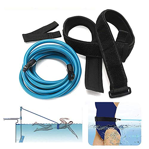 KIKIGOAL Swim Training Belts Swim Bungee Cords Resistance Bands Swim Tether Stationary Swimming, Swim Harness Static Swimming Belt (Blue, 6mm10mm4m)