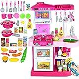 Detazhi Rollenspiel Spielzeug Gourmet Küche Durable Kinder Küche Spielzeug mit Klang Plastik Spiel Küche Kinder Pädagogische Spielzeug (Farbe: Rosa, Größe: Höhe 72 cm)