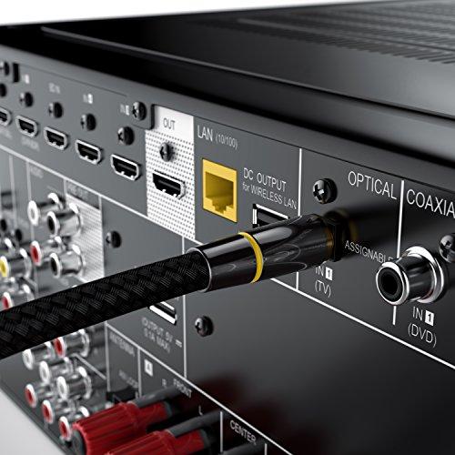 CSL - 1,5m HQ Platinum Toslink optisch digital Kabel S PDIF Audio Kabel - Aluminium Stecker vergoldete Kontakte Nylonummantelt - LWL Lichtwellenleiter - HiFi TV Konsolen Media Center