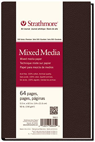 Strathmore 566-5 500 Series Hardbound Mixed Media Art Journal, 5.5' x 8.5', White, 32 Count