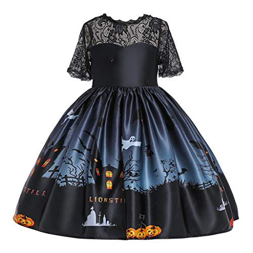 Great Deal! Qisc Halloween Dresses for Girls Vintage A-Line Swing Dresses Lace Short Sleeve Swing Dr...