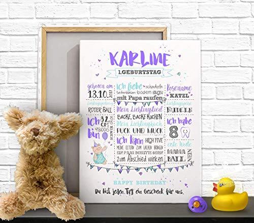 Meilensteintafel Babys 1. Lebensjahr, Geschenk zum ersten Geburtstag, individuell, Papier, Leinwand