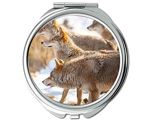 Yanteng Spiegel, Runder Spiegel, Animal Wolf Navy Taschenspiegel, 1 X 2X Vergrößerung