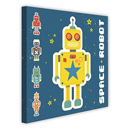Vertikale Décoration Murale Tableau Toile Enfant Space Robots Jaune