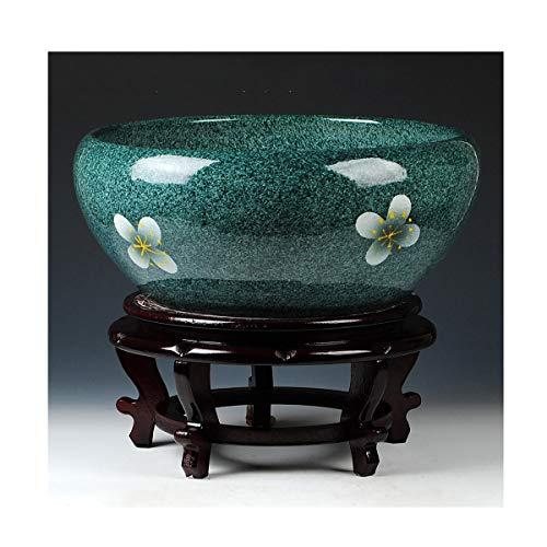 HENG keramische vaas decoratie, blauw en wit porselein water ondiep goudvissen tank, schildpad tank, waterlelie Narcissus bloempot vaas decoratie, groot, zonder basis, met basis voor gebruik in huis kantoor,