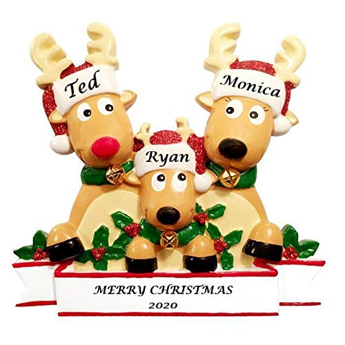 2020 Personalized Ornament Reindeer Family of 3 with Glittered Santa Hat Christmas Tree Ornament Rudolph The Red Nose Family Handwritten Customized Ornament-Free Personalization (Family of 3)
