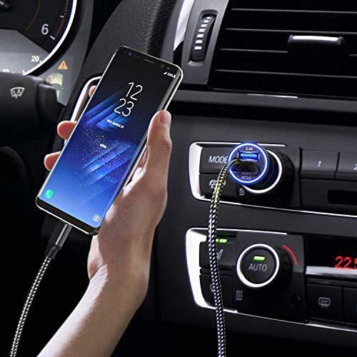 JOOMFEEN USB Tipo C Cargador de Coche,Quick Charge 3.0+2.4A 30W Carga Rapida Doble Puertos USB Adaptador cargador de coche con Cable USB C para Samsung Galaxy S10E/S9/S8/Note 8,LG G6,Huawei P20/Mate10