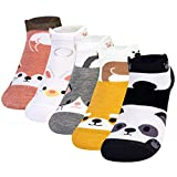 Chalier 5 Paar Damen Socken Lustige Bunte Tiere Malerei Socken aus Baumwolle, Cartoon Frauen Mode Niedlichen Knöchel Socken