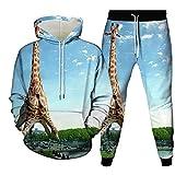 3D Sudaderas Con Capucha Jogger Pantalones,Sudaderas Casuales Con Capucha Conjunto De Chándal Blue Sky Giraffe Animal Print Jersey De Cuello Redondo Y Pantalones De Jogging Con Diseño De Bolsillo